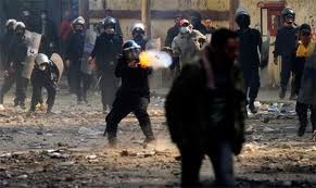 Tear gas in Muhammed Mahmoud Street, Cairo