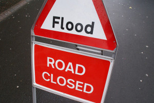 Flood signs in Morpeth, Northumberland, UK. Photographer Ian Britton
